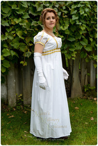 White Gold Cotton Jane Austen Style REGENCY Ball Day Gown Ball Dress front