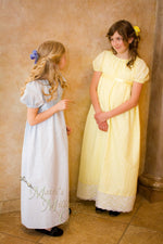 Load image into Gallery viewer, Eyelet Regency Jane Austen Girl Childrens Ball Gown Dress CUSTOM your color choice