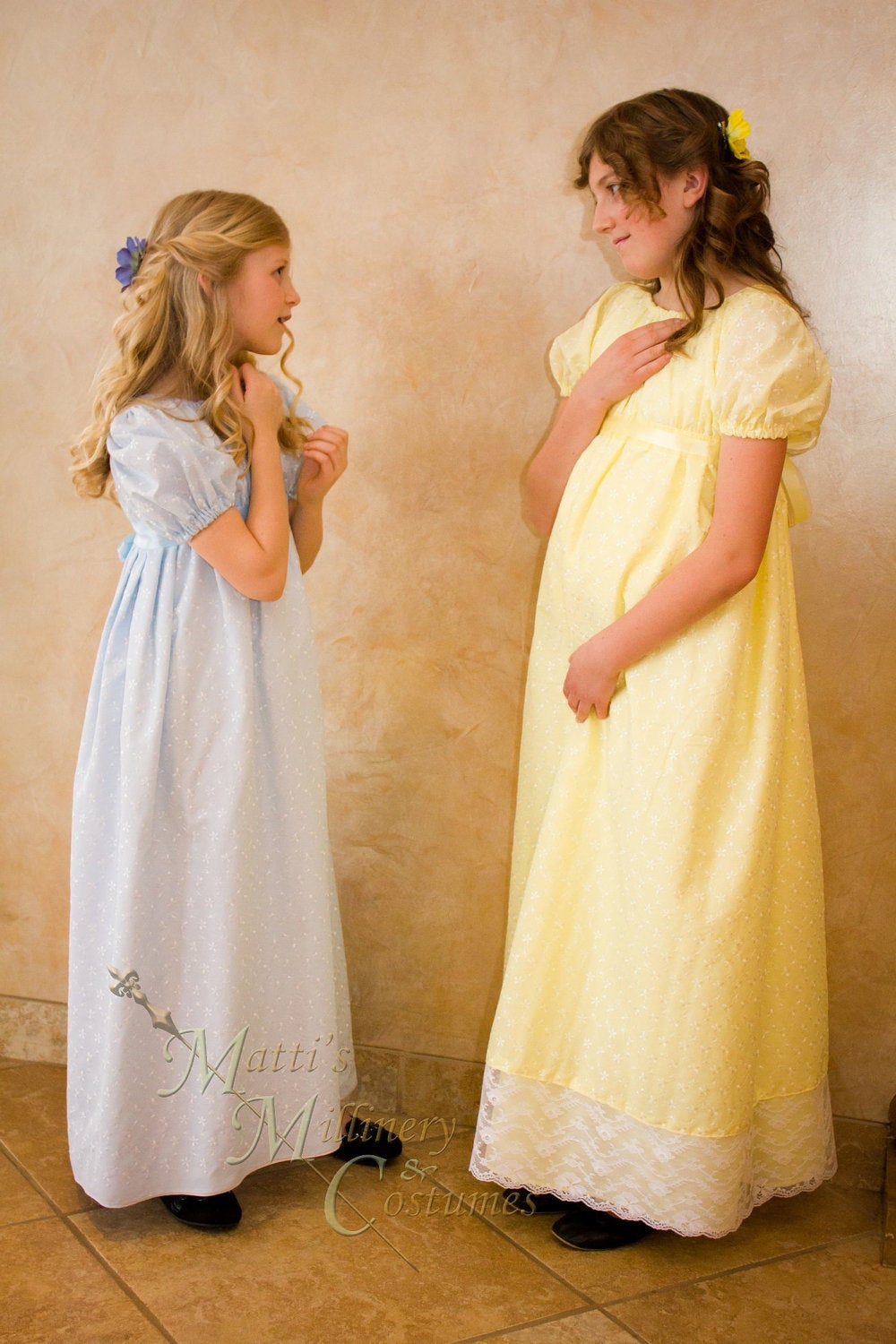 Eyelet Regency Jane Austen Girl Childrens Ball Gown Dress CUSTOM your color choice