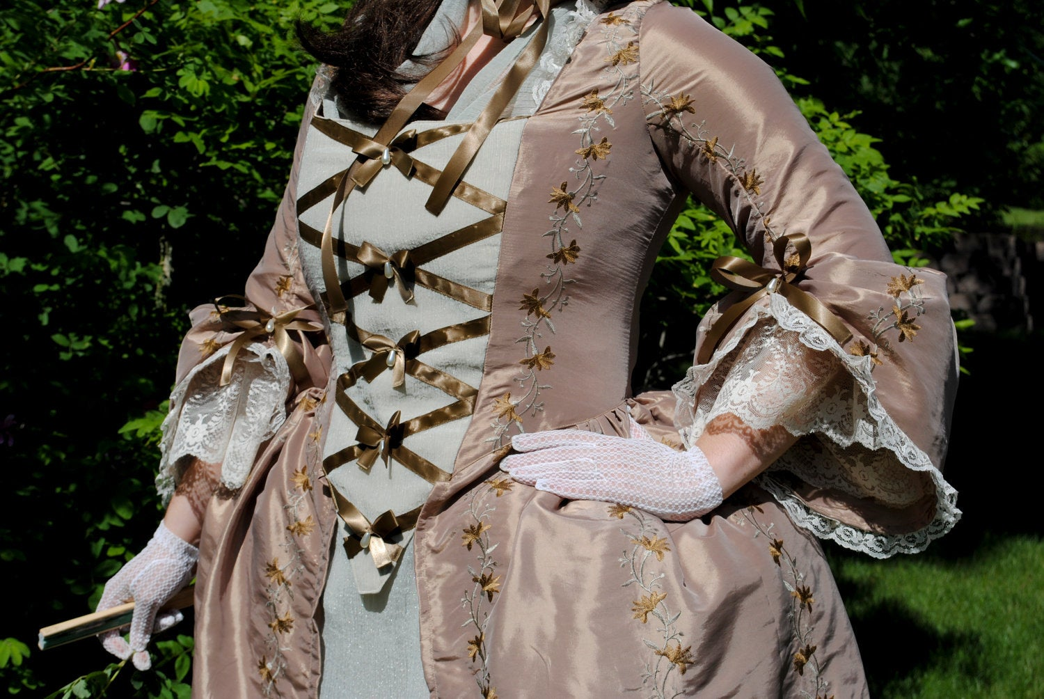 CUSTOM Colonial 18th Century Rococo Dress Gown 1700s outfit embroidered taffeta