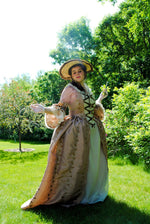 Load image into Gallery viewer, CUSTOM Colonial 18th Century Rococo Dress Gown 1700s outfit embroidered taffeta