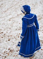 Load image into Gallery viewer, CUSTOM Regency Jane Austen dress Spencer Jacket Pelisse Militia P & P Redingote in Velvet with bonnet and reticule