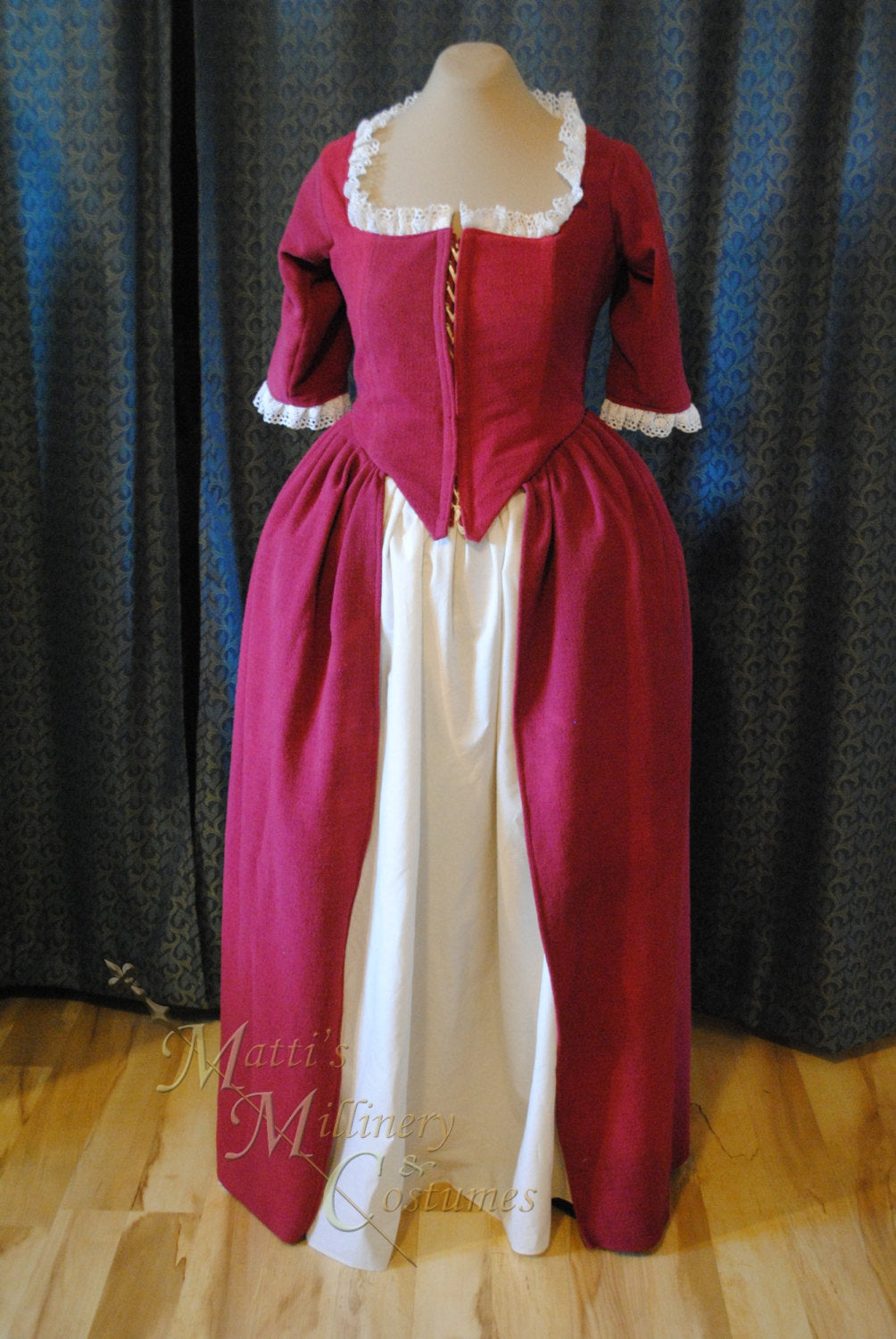 CUSTOM Colonial 18th Century Rococo Dress Gown 1700s House outfit Lace-up front