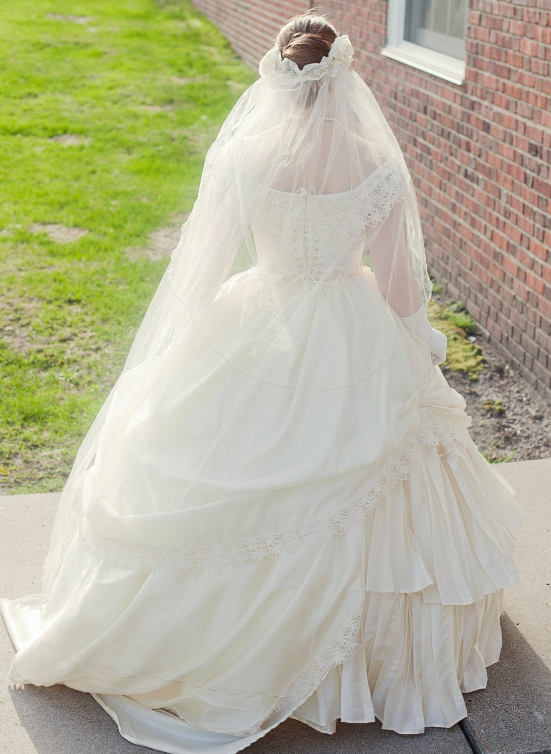Bridal Wedding Victorian Civil War Steampunk Gown Dress includes veil