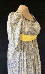Load image into Gallery viewer, Magic Gray Yellow Block Print Cotton Regency Jane Austen Day Dress