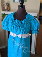 Load image into Gallery viewer, Embroidered Eyelet Cotton Jane Austen Regency Day Dress Gown