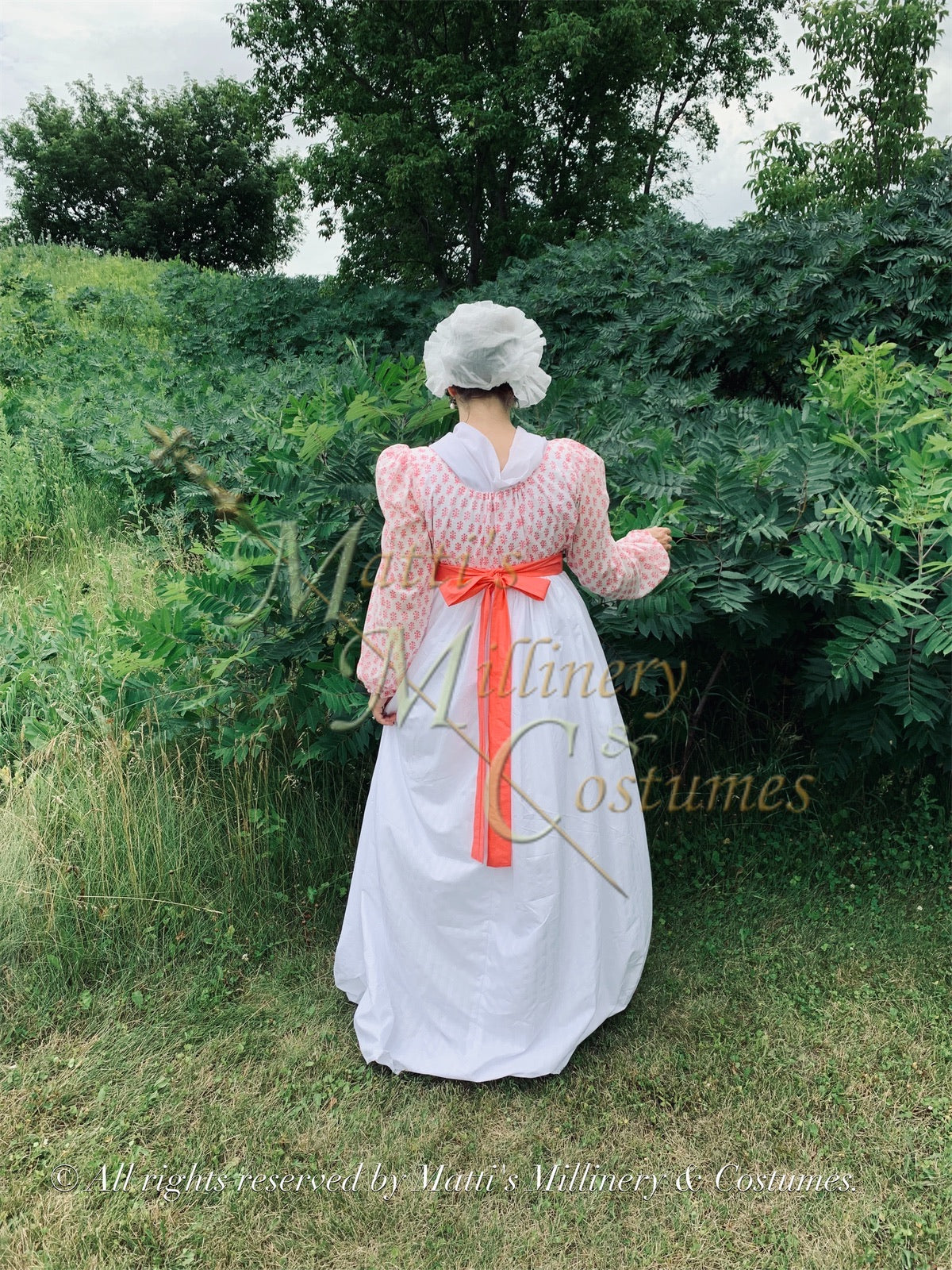 Pink White Illusion Regency Day Dress with Long Sleeves