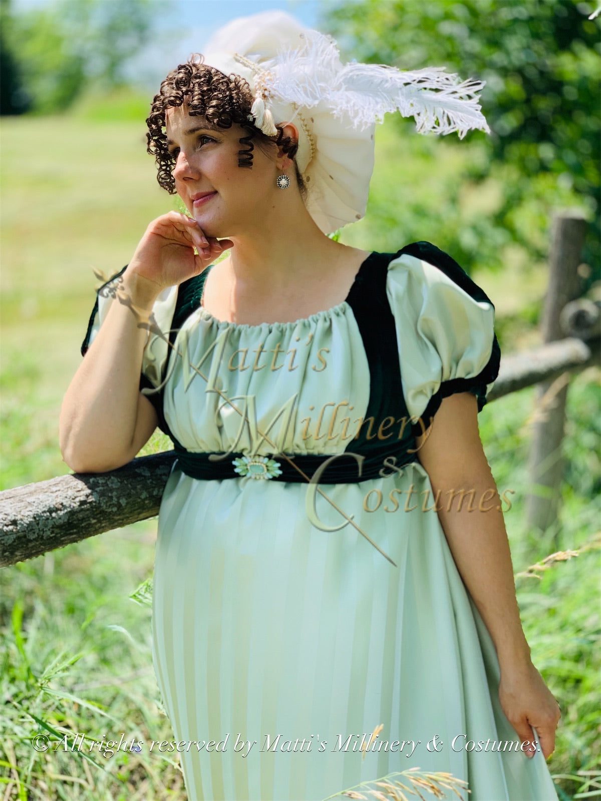 Green Cassandra Regency Jane Austen Evening Dress Gown