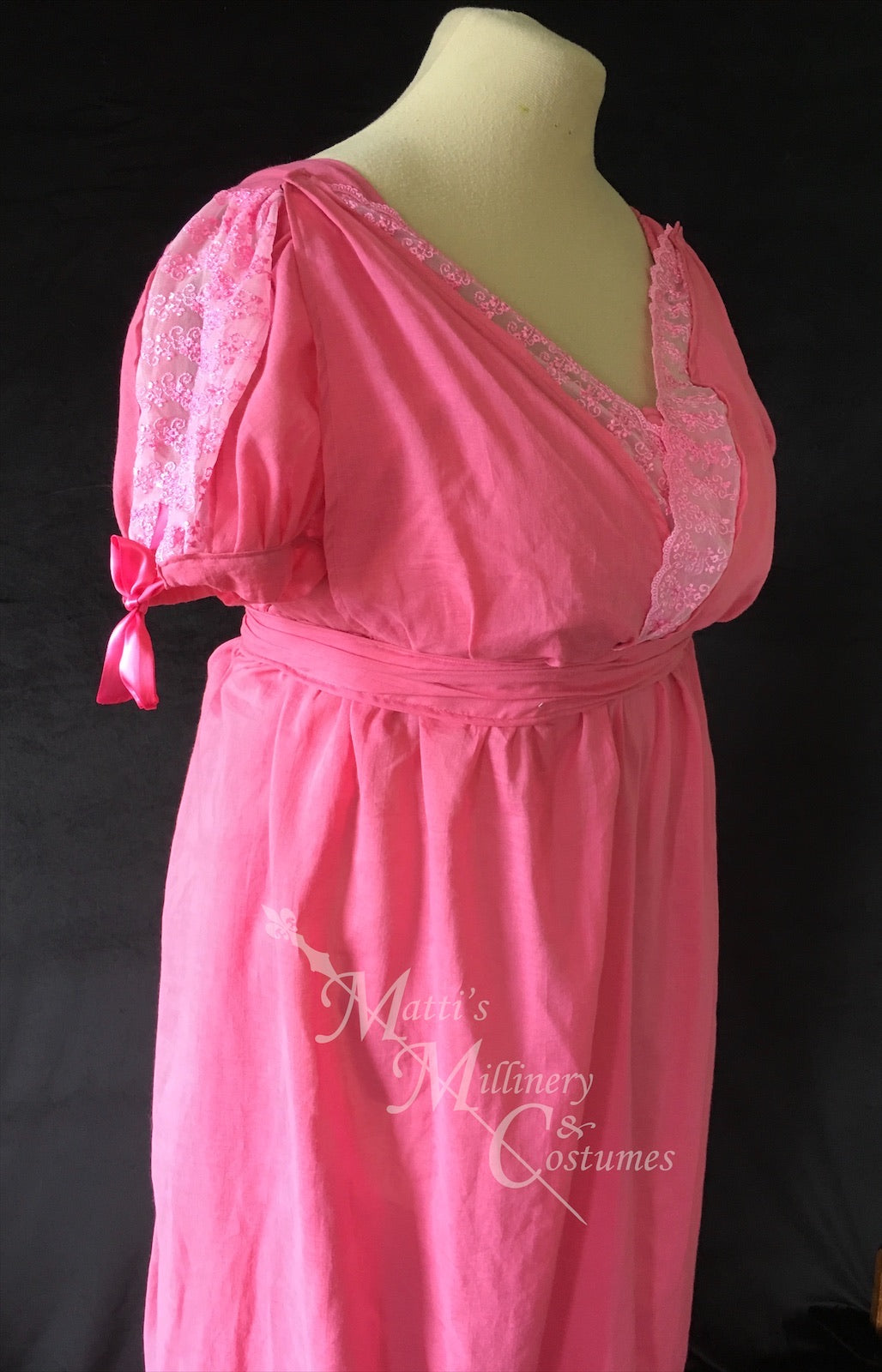 Fuchsia Pink Cotton Jane Austen Regency Drop Front Day Dress