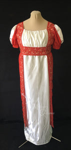 Madeline Regency Ball Dress in red silk embroidered sari and ivory satin