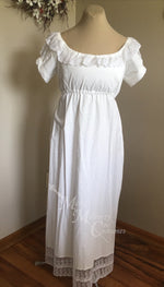 Load image into Gallery viewer, White Elegant Cotton Regency Jane Austen Day Dress Gown