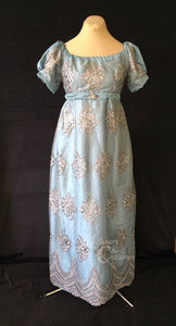 Silver Turquoise Elegant Lace Net Regency Jane Austen Ball Dress Gown