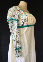 Load image into Gallery viewer, Teal Madeline Block Print Cotton Jane Austen Regency Day Dress Gown