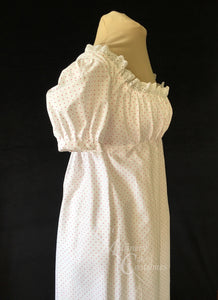 Print Cotton Jane Austen Regency Day Dress Gown