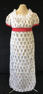 Load image into Gallery viewer, Red Berry Block Print Cotton Jane Austen Regency Day Dress Gown