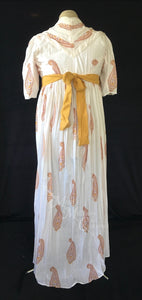 Pumpkin Danish Block Print Cotton Jane Austen Regency Day Dress Gown