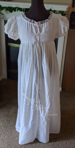 Swiss Dot Cotton Lawn Jane Austen Regency Day Dress Gown