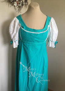 Bib front Print Cotton Jane Austen Regency Day Dress Gown
