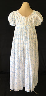 Load image into Gallery viewer, Blue Print Cotton Jane Austen Regency Day Dress Gown