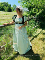 Load image into Gallery viewer, Green Cassandra Regency Jane Austen Evening Dress Gown