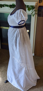 Load image into Gallery viewer, Blue White Elegant Eyelet Cotton Regency Jane Austen Day Dress Gown