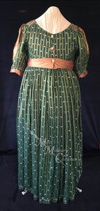 Green Bronze Plus Size Regency Jane Austen Ball Gown Evening Dress in silk dupioni & sari silk