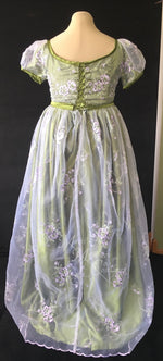 Load image into Gallery viewer, Regency Day Dress in green, satin and embroidered purple and silver organza
