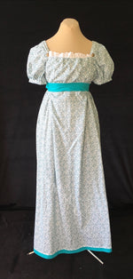 Load image into Gallery viewer, Bib front Print Cotton Jane Austen Regency Day Dress Gown