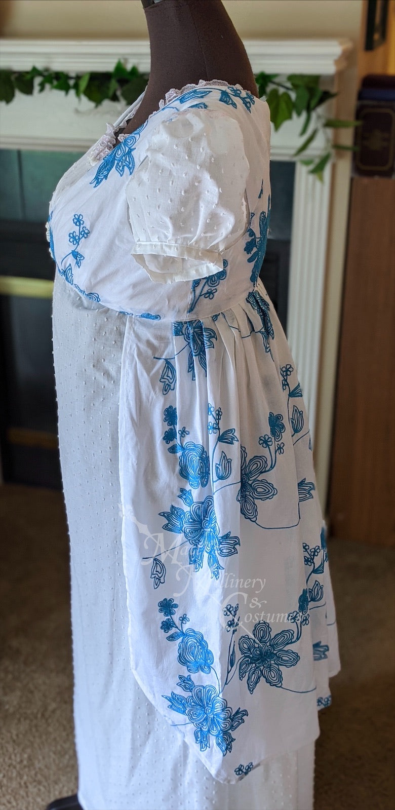 Embroidered Cotton Teal Regency Jane Austen Day Dress Open Robe Pelisse