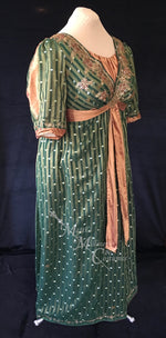 Load image into Gallery viewer, Green Bronze Plus Size Regency Jane Austen Ball Gown Evening Dress in silk dupioni & sari silk