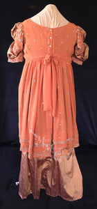 Coral Plus Size Regency Jane Austen Ball Gown Evening Dress in silk dupioni & sari silk