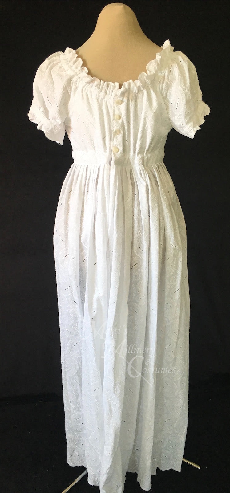 White Elegant Eyelet Cotton Regency Jane Austen Day Dress Gown