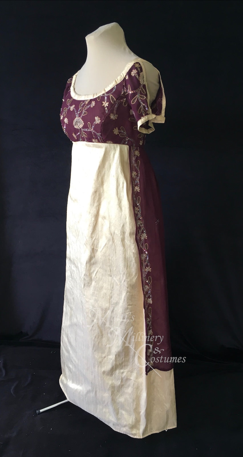 Wine Regency Jane Austen Ball Gown Evening Dress in silk dupioni & sari silk