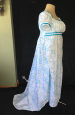 Load image into Gallery viewer, Teal White Cotton Jane Austen Regency Drop Front Day Dress