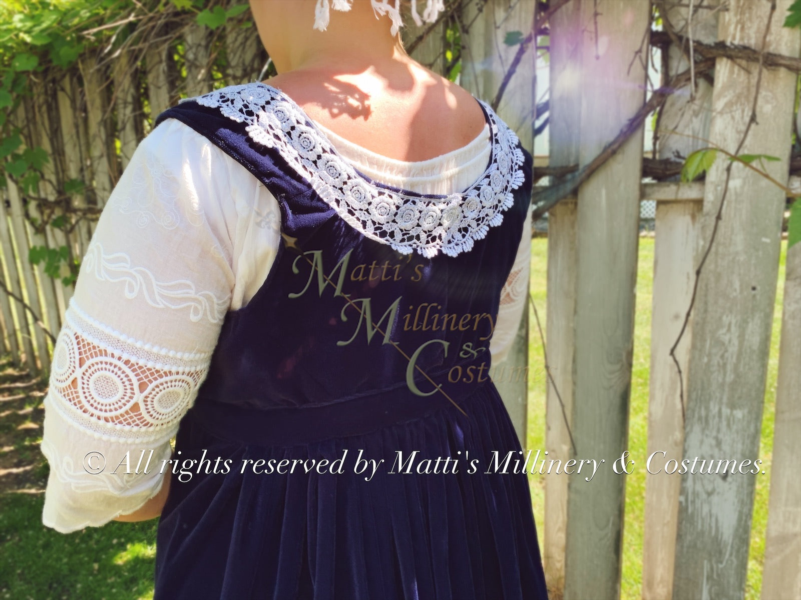 Navy Silver Velvet Regency Court Jane Austen Day Dress Open Robe Pelisse