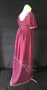 Load image into Gallery viewer, Wine Regency Jane Austen Ball Gown Evening Dress in sari silk