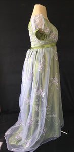 Regency Day Dress in green, satin and embroidered purple and silver organza