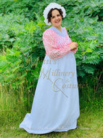 Load image into Gallery viewer, Pink White Illusion Regency Day Dress with Long Sleeves