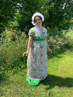 Load image into Gallery viewer, Henrietta Indian Block Print Cotton Regency Day Dress in green, pink print