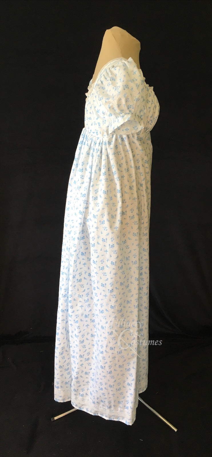 Blue Print Cotton Jane Austen Regency Day Dress Gown