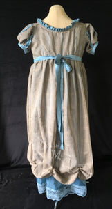 Gray Turquoise Jane Austen Regency Day Dress Gown