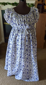 Periwinkle Green Magic Round Gown Block Print Cotton Regency Jane Austen Day Dress