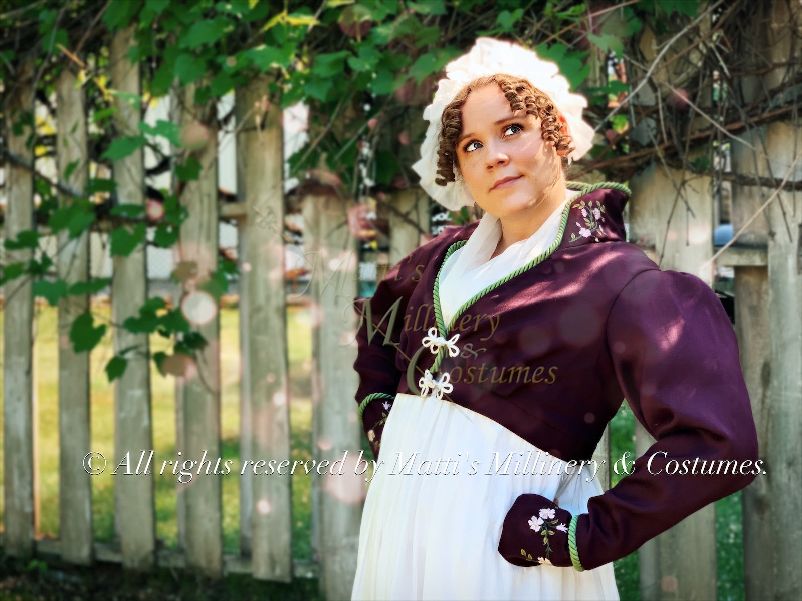 Elliot Burgundy silk embroidered spencer Regency Jane Austen Day Dress Spencer Short Jacket Pelisse