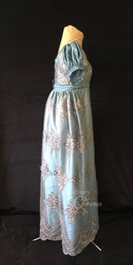 Load image into Gallery viewer, Silver Turquoise Elegant Lace Net Regency Jane Austen Ball Dress Gown