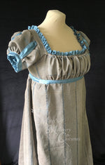 Load image into Gallery viewer, Gray Turquoise Jane Austen Regency Day Dress Gown