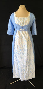 Blue Linen Regency Jane Austen Day Dress Open Robe Pelisse