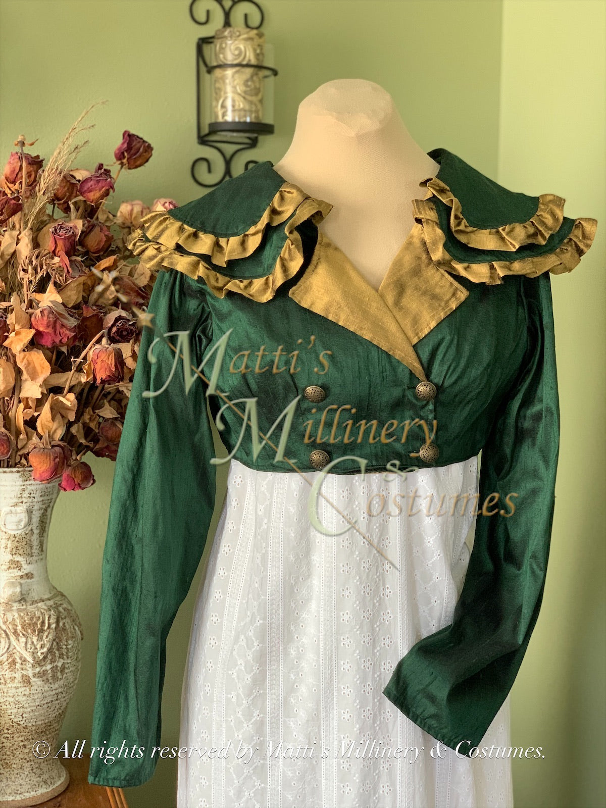 Green Gold SHAWNA Regency Jane Austen Day Dress Spencer Short Jacket Pelisse