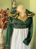 Load image into Gallery viewer, Green Gold SHAWNA Regency Jane Austen Day Dress Spencer Short Jacket Pelisse