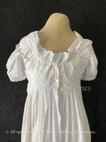 Load image into Gallery viewer, Fancy White Eyelet Cotton Jane Austen Regency Day Dress with crossover neckline