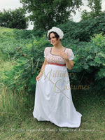 Load image into Gallery viewer, Pink Gray Illusion Block Print Cotton Regency Jane Austen Day Dress Gown